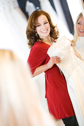 bride in bridal shop