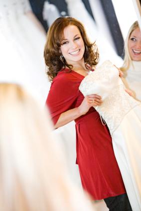 bride in bridal shop
